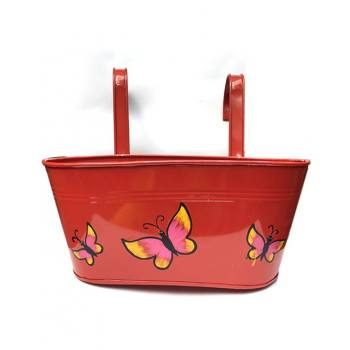 Oval railing planter red w...