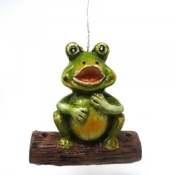 Frog on log painted