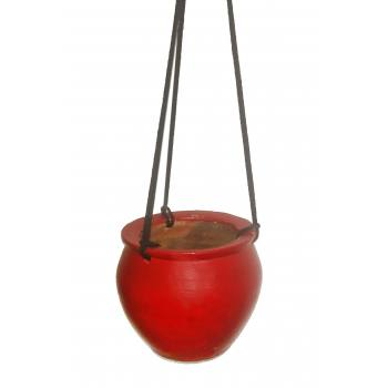 Plain hanging pot painted Red